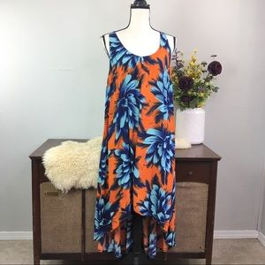 Anthro Maeve Sunset Hibiscus tropical floral dress